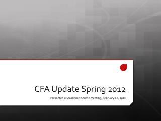 CFA Update Spring 2012