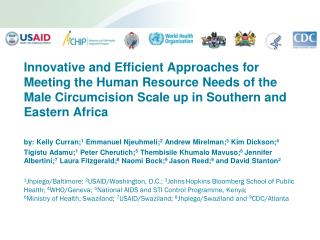 Innovative and Efficient Approaches for Meeting the Human Resource Needs of the Male Circumcision Scale up in Southern