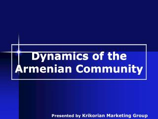 Dynamics of the Armenian Community
