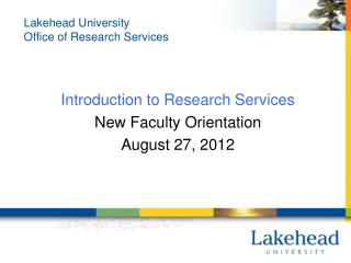 Lakehead University Office of Research Services