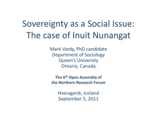 Sovereignty as a Social Issue:  The case of Inuit  Nunangat
