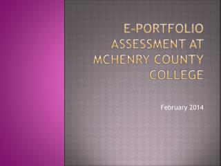 E-portfolio assessment at mchenry county college