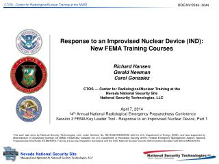 Response to an Improvised Nuclear Device (IND):  New FEMA Training Courses