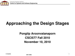 Approaching the Design Stages