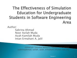 The Effectiveness of Simulation Education for Undergraduate Students in Software Engineering Area