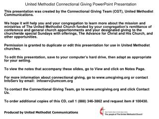 United Methodist Connectional Giving PowerPoint Presentation