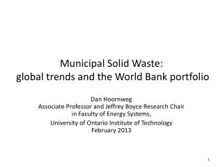 Municipal Solid Waste:  global trends and the World Bank portfolio