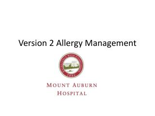 Version 2 Allergy Management