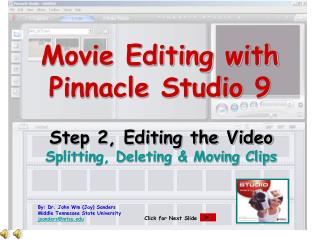 Movie Editing with  Pinnacle Studio 9