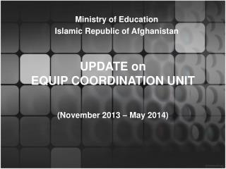 UPDATE on  EQUIP COORDINATION UNIT