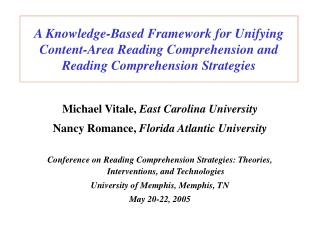 A Knowledge-Based Framework for Unifying Content-Area Reading Comprehension and Reading Comprehension Strategies