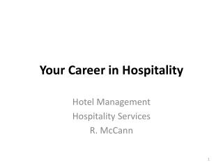 Your Career in Hospitality