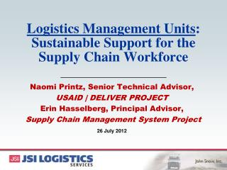 Logistics Management Units : Sustainable Support for the Supply Chain Workforce