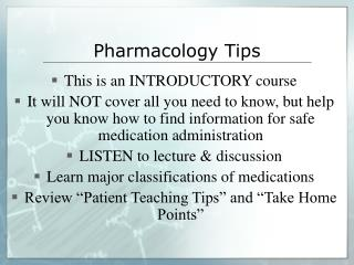 Pharmacology Tips