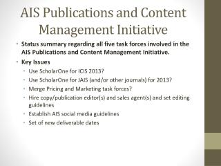 AIS Publications and Content Management Initiative