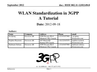 WLAN Standardization in  3GPP A Tutorial