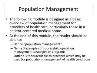 Population Management