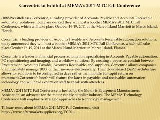 corcentric to exhibit at mema's 2011 mtc fall conference