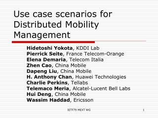 Use case scenarios for Distributed Mobility Management