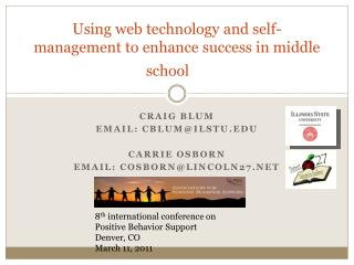 Using  web technology and self-management to enhance success in middle school