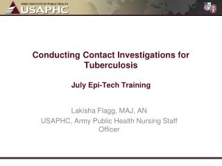 Conducting Contact Investigations for Tuberculosis July Epi-Tech Training