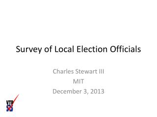 Survey of Local Election Officials