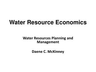 Water  Resource Economics