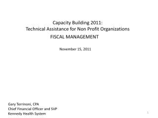 Capacity Building 2011: Technical Assistance for Non Profit Organizations