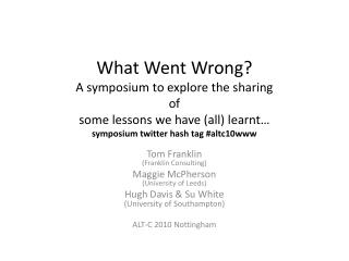 What Went Wrong? A symposium to explore the sharing  of  some lessons we have (all) learnt … symposium  twitter hash ta