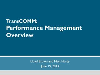 TransCOMM : Performance Management Overview