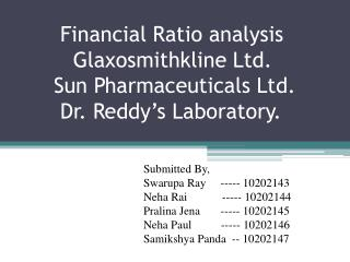 Financial Ratio analysis           Glaxosmithkline Ltd.       Sun Pharmaceuticals Ltd.        Dr. Reddy's Labora