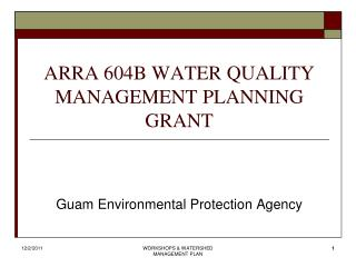 ARRA 604B WATER QUALITY MANAGEMENT PLANNING GRANT