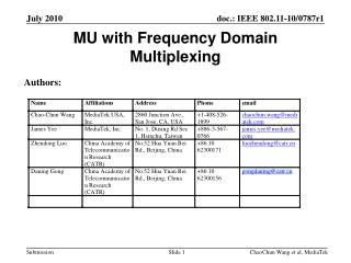MU with Frequency Domain Multiplexing