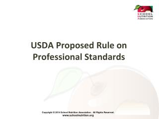 USDA Proposed Rule on Professional Standards