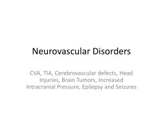 Neurovascular Disorders