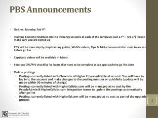 PBS Announcements