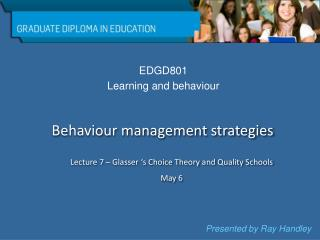 EDGD801 Learning and behaviour