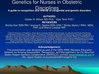 Genetics for Nurses in Obstetric Disciplines
