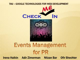 TAU  –  Google Technologies for Web Development