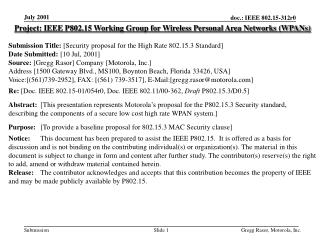 Project: IEEE P802.15 Working Group for Wireless Personal Area Networks (WPANs) Submission Title:  [Security proposal fo
