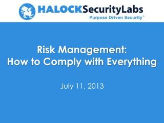 Risk Management: How to Comply with Everything