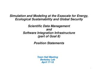 Town Hall Meeting  Berkeley Lab  April 17-18
