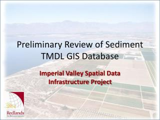 Preliminary Review of Sediment TMDL GIS Database