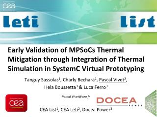 Early Validation of  MPSoCs  Thermal Mitigation through Integration of Thermal Simulation in  SystemC  Virtual Prototypi