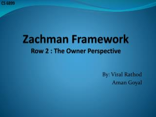 Zachman Framework Row 2 : The Owner Perspective
