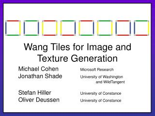 Wang Tiles for Image and Texture Generation