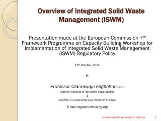 Overview of Integrated Solid Waste Management (ISWM)