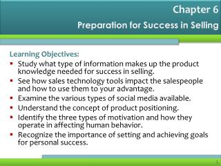 Preparation for Success in Selling