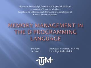 Memory Management in the D programming language