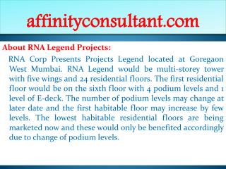rna legend projects @@91-9999684166| rna property goregaon